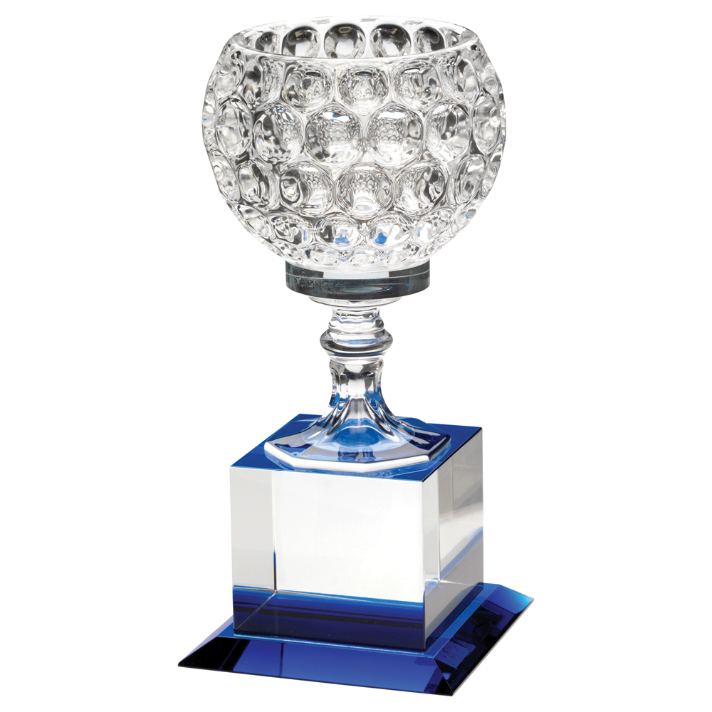 8 5 clear blue glass golf award trophy boss for How to design a trophy