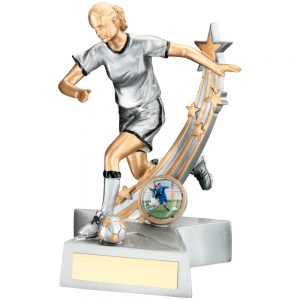 Female Footballer Silver Gold Resin Award