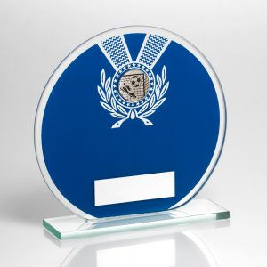 Football Circular Blue Glass Award