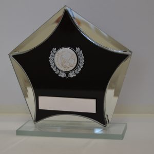 Golf Pentagon Black Glass Award