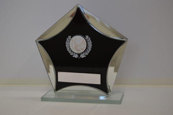Golf Pentagon Black Glass Award