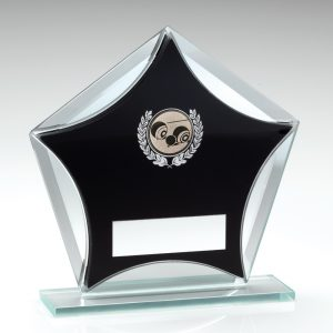 Lawn Bowls Pentagon Black Glass Award
