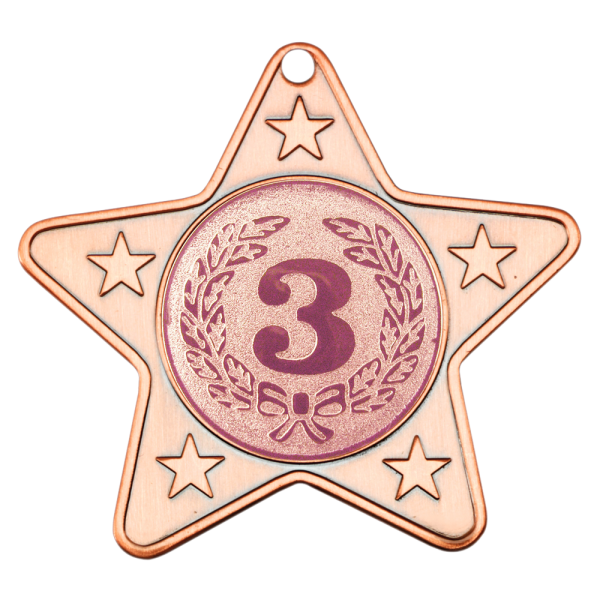 Bronze 50mm Star Shaped Medal