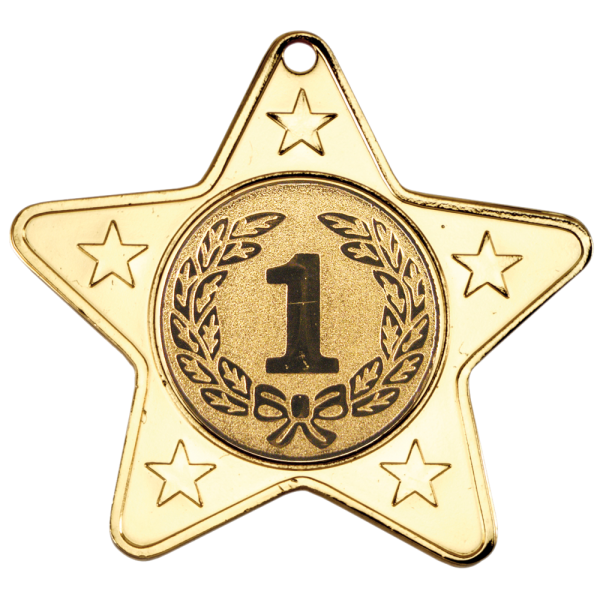 Gold 50mm Star Shaped Medal