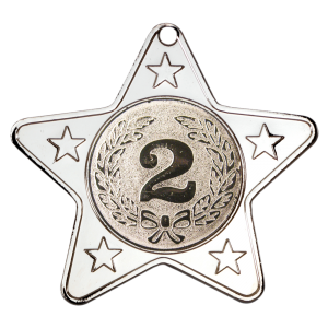 Silver 50mm Star Shaped Medal