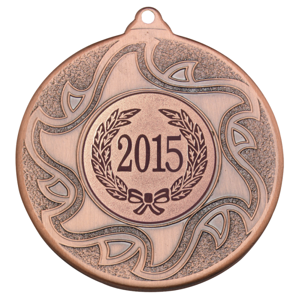 Bronze 50mm Round Medal - Sunshine Inspired Design