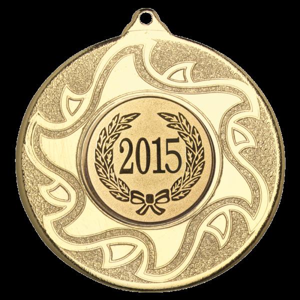 Gold 50mm Round Medal - Sunshine Inspired Design