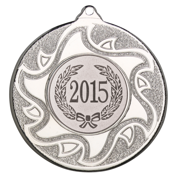 Silver 50mm Round Medal - Sunshine Inspired Design