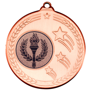 Bronze 50mm Round Medal - Shooting Star Design