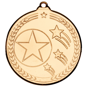 Gold 50mm Round Medal - Shooting Star Design