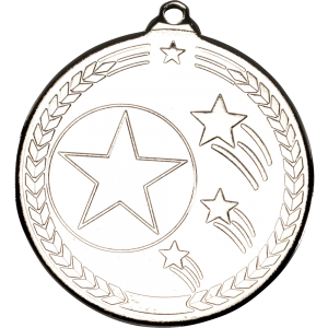 Silver 50mm Round Medal - Shooting Star Design