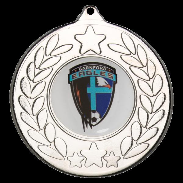 Silver 50mm Round Medal - Star/Wreath design