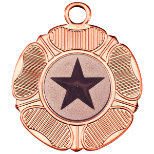 Bronze 50mm Round Medal - Tudor Rose Design