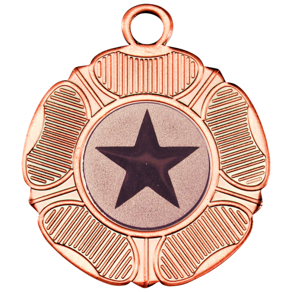 Bronze 50mm Round Medal - Tudor Rose Design
