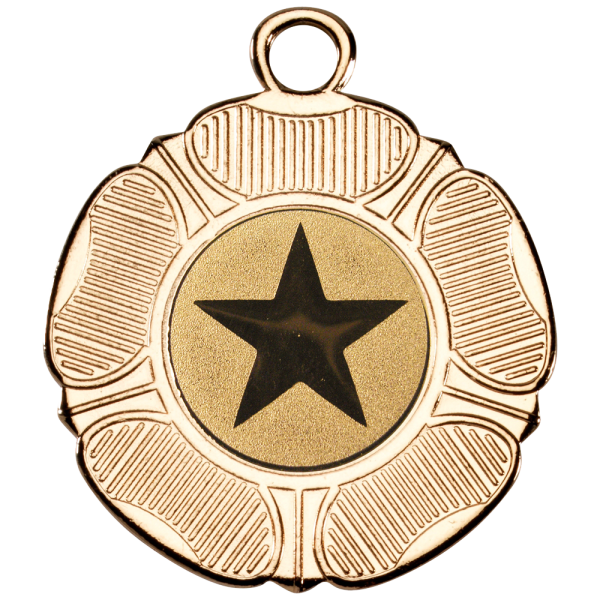 Gold 50mm Round Medal - Tudor Rose Design