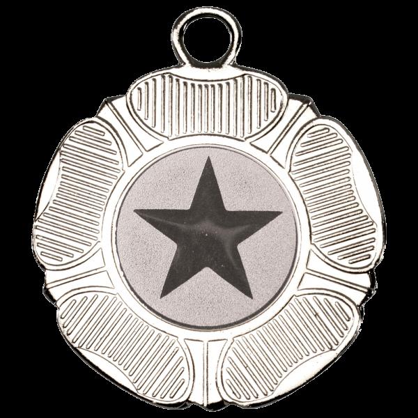 Silver 50mm Round Medal - Tudor Rose Design