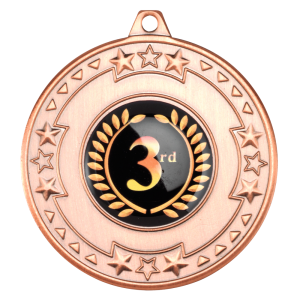 Bronze 50mm Round Medal - Tri Star design