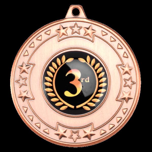 Bronze 50mm Round Medal - Tri Star design