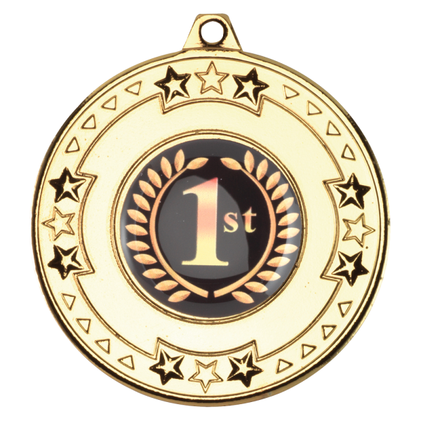 Gold 50mm Round Medal - Tri Star Design