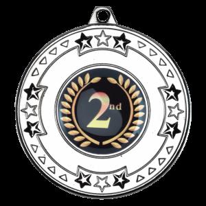 Silver 50mm Round Medal - Tri Star design