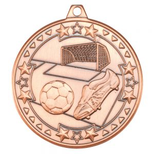 Bronze 50mm Round Medal - Football & Boot Design