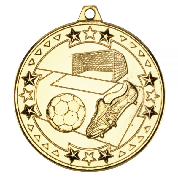 Gold 50mm Round Medal - Football & Boot Design