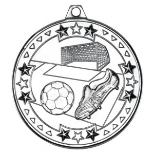 Silver 50mm Round Medal - Football & Boot Design