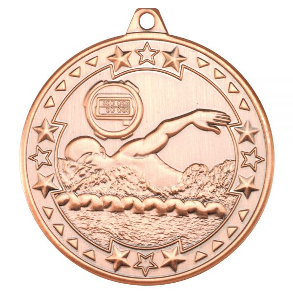 Bronze 50mm Round Medal - Swimming Design