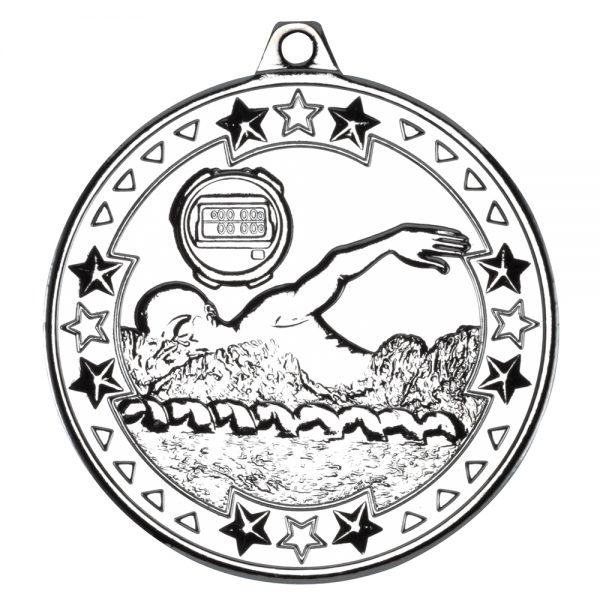 Silver 50mm Round Medal - Swimming Design
