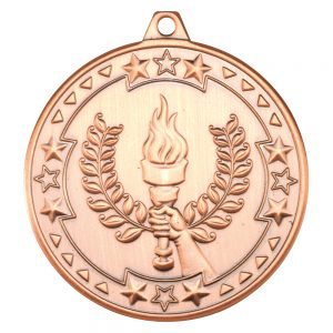 Bronze 50mm Round Medal - Victory Torch Design