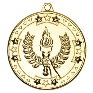 Gold 50mm Round Medal - Victory Torch Design