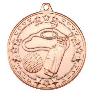 Bronze 50mm Round Medal - Golf Design