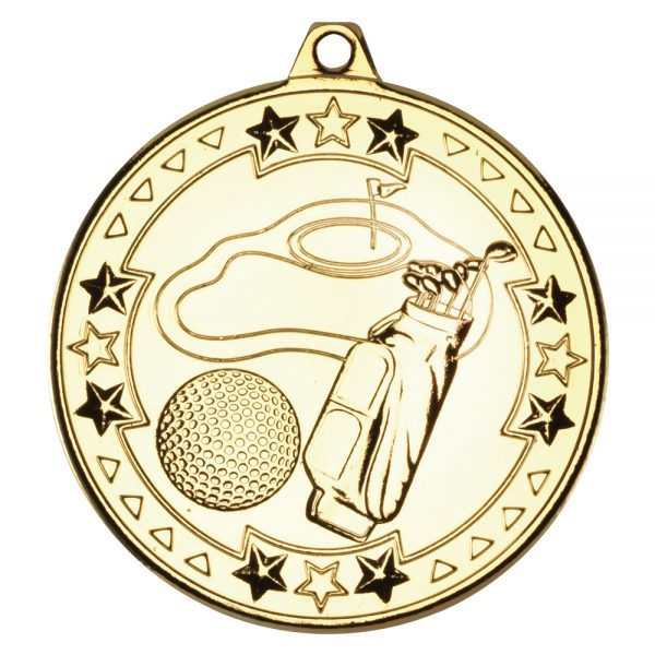 Gold 50mm Round Medal - Golf Design