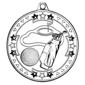 Silver 50mm Round Medal - Golf Design