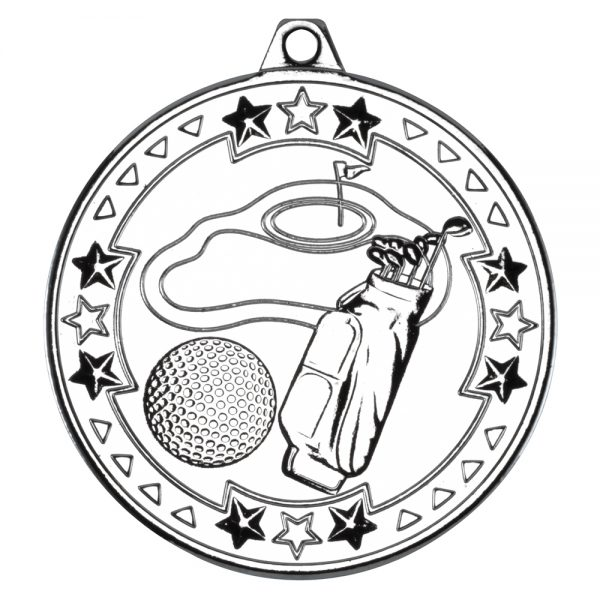 Silver 50mm Round Medal - Golf Design