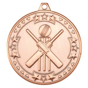 Bronze 50mm Round Medal - Cricket Design