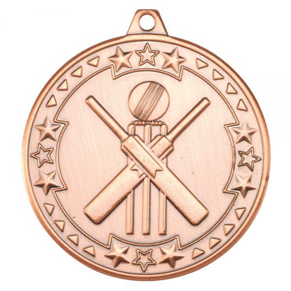 Bronze 50mm Round Medal - Cricket Design
