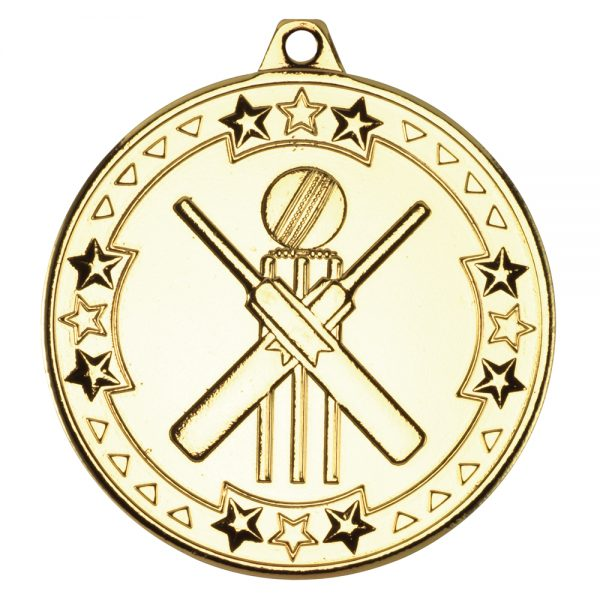 Gold 50mm Round Medal - Cricket Design
