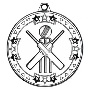Silver 50mm Round Medal - Cricket Design