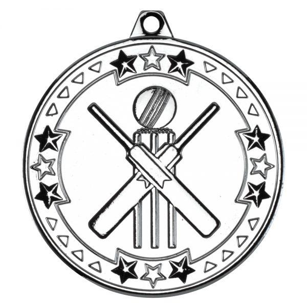 Silver 50mm Round Medal - Cricket Design