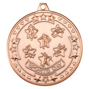 Bronze 50mm Round Medal - Sports Day Design