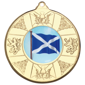 Gold 50mm Round Medal - Scottish Themed