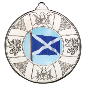 Silver 50mm Round Medal - Scottish Themed