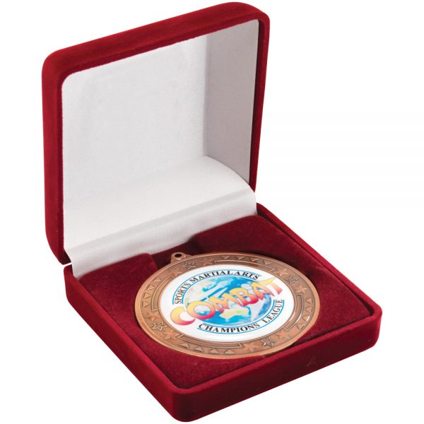 Red Delux Hinged Medal Box