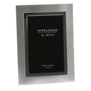4 inch x 6 inch 2 Tone Brushed/Shiny Aluminium Photo Frame