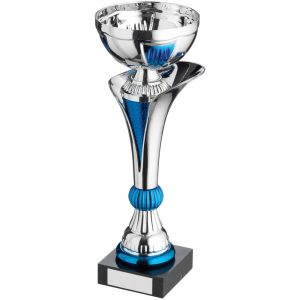 Trophy cup silver and blue