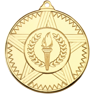 Gold 50mm Round Medal - Striped Star Design