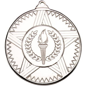 Silver 50mm Round Medal - Striped Star Design