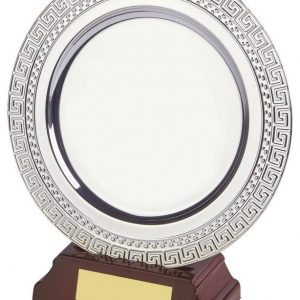 7 Inch Silver Plated Salver c/w Wooden Stand