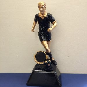 Black and Gold Male Footballer Resin Award